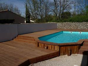 habillage bois d39une piscine semi enterree pose parquet With photo de piscine en bois