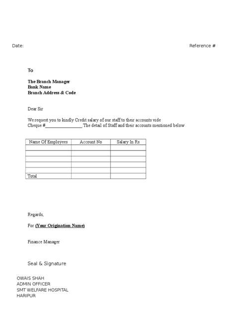 letter  salaries transfer  bank