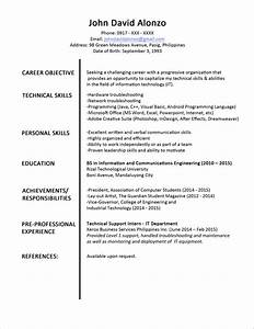 Resume Sample For Fresh Graduate Philippines Free Resume Sample