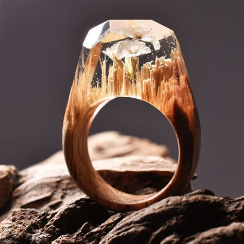 ethereal worlds encapsulated  wood  resin rings