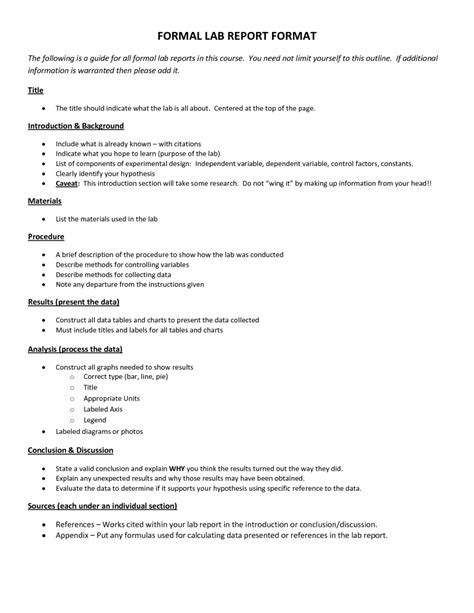 Lab Report Template Formal Lab Report Format 7 Formal Lab Report Template