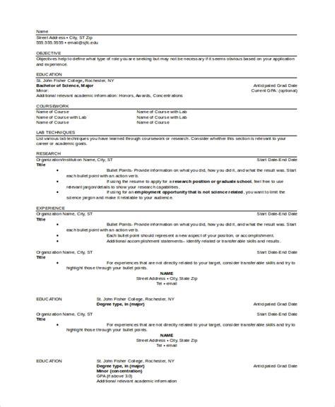 sample graduate school resume templates