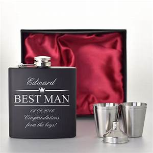 Best Man Wedding Gifts Black Hip Flask Set