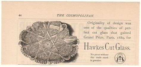 AdsPast.com   1892 Hawkes Cut Glass Dish Trade Mark Print Ad