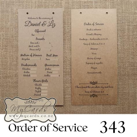 order of service order of service wedding kraft design 343 mycards auckland