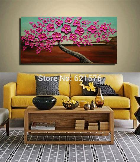 Big Handpainted Home Decor Abstract Magenta Hibiscus