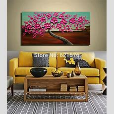 Big Handpainted Home Decor Abstract Magenta Hibiscus