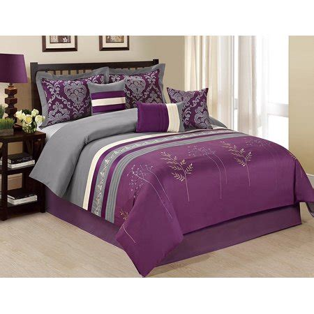 unique home 7 piece dala tree branch print embroidery clearence purple grey comforter