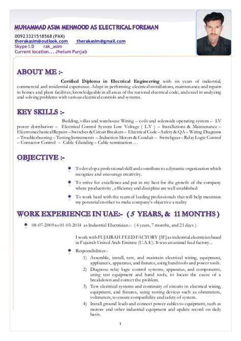 Electrical Supervisor Curriculum Vitae by Resume Muhammad Asim Mehmood As Electrical Foreman