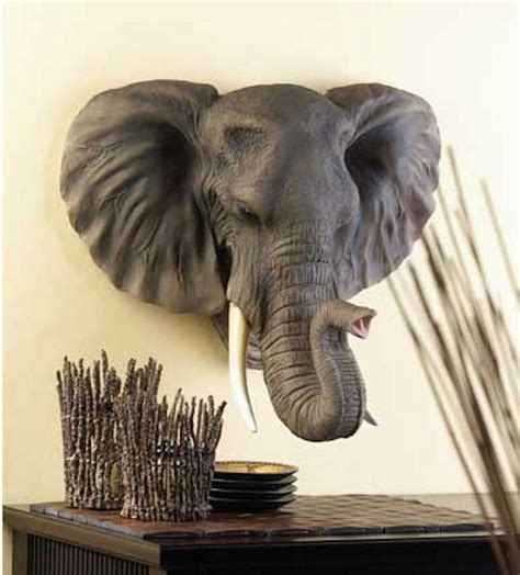Elephant Wall Decor by Large Hanging African Elephant Head Bust Statue Sculpture