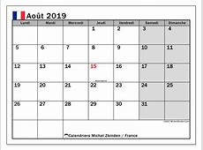 Calendrier août 2019, France Michel Zbinden FR
