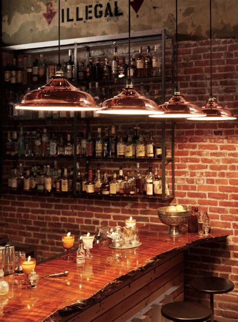 Bar Lighting by Be Sure To Check Out The Wood Slab Used On This Bar Top
