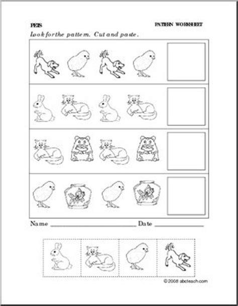 worksheet pets follow  pattern preschoolprimary