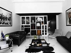 cool modern living room with attractive fur rug idea and With black and white interior design living room