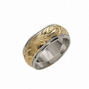 8mm 14k yellow gold plated spinning rings makani hawaii With hawaiian jewelry wedding rings