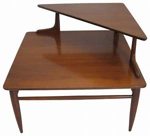 Two tier mid century side corner table midcentury side for Corner side table