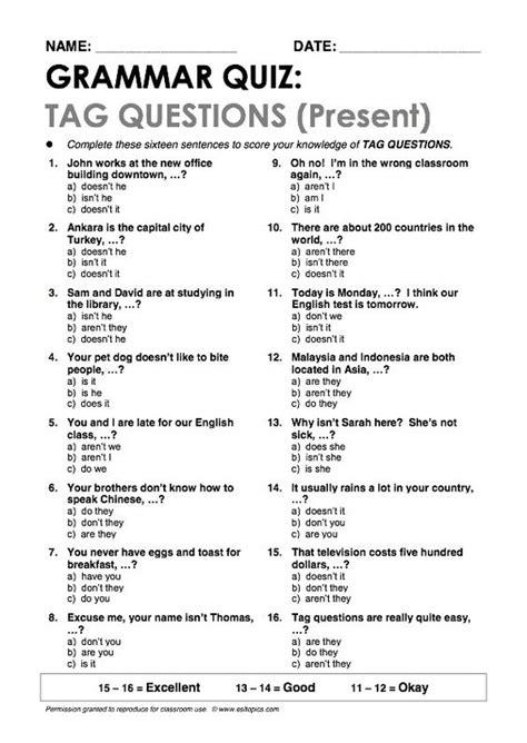 tag questions present grammar quiz grammar