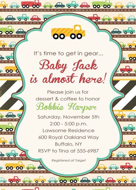 baby shower invitation with car theme transportation birthday party travel 1264 katiedid