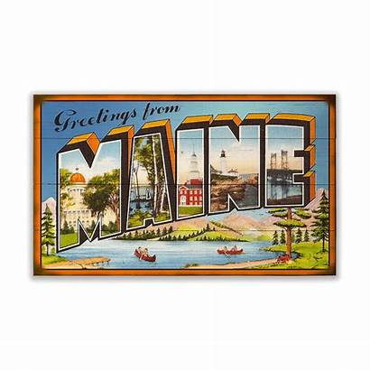 Maine Greetings Sign Letter Postcard Wood Signs