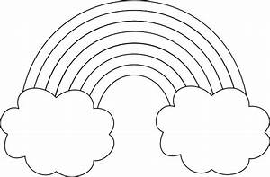 Rainbow With Clouds Outline Clip Art at Clker.com - vector ...