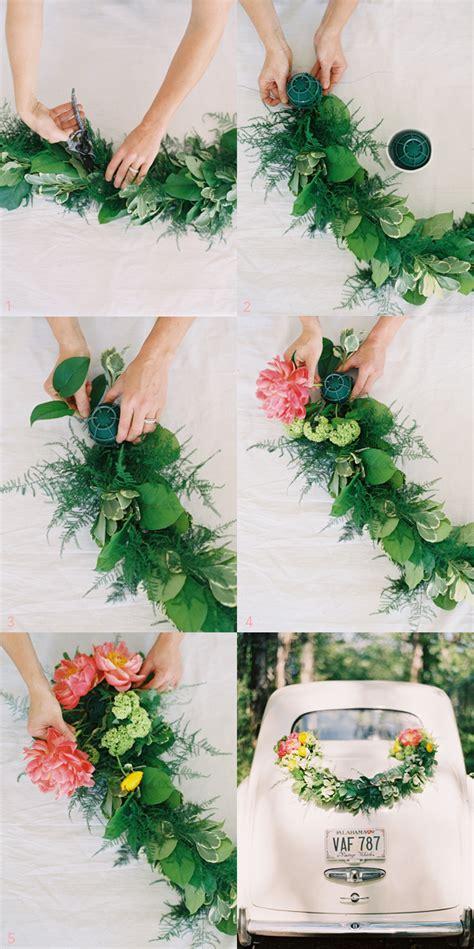 diy wedding car garland decorations Once Wed