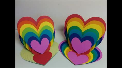 Art And Craft How To Make Rainbow Heart Card Heart Easel
