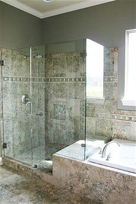 glass shower   separate jacuzzi tub
