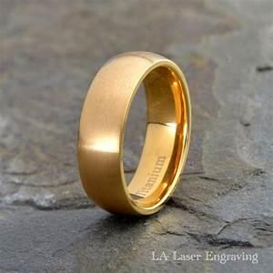 Mens Titanium Wedding Band Yellow Gold Plated Brushed