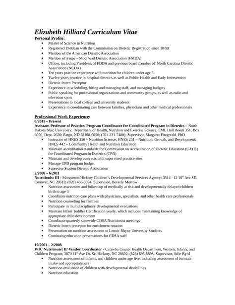 Chronological Resume Builder by Chronological Nutritionist Resume Template