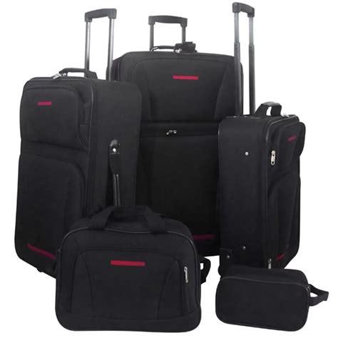 vidaXL Travel Luggage Set 5 Pieces Black Travel Carry ...