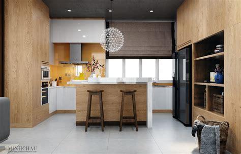 modern kitchen designs  wooden accent decor brings