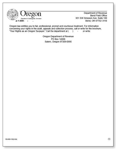 oregon audit notice    sample