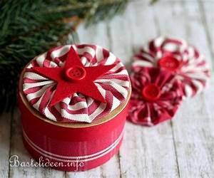 Runde Schachtel Basteln : geschenkverpackung zu weihnachten basteln runde pappschachtel mit stoffrosette verzieren ~ Frokenaadalensverden.com Haus und Dekorationen