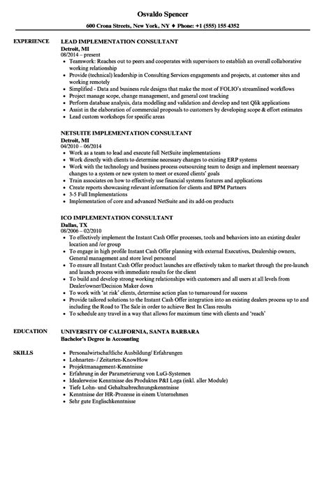 Implementation Consultant Resume by Consultant Implementation Resume Sles Velvet