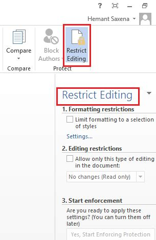 setting editing restrictions  word