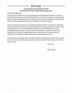 best inside sales cover letter examples livecareer With cover letter for inside sales position