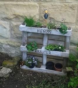 Garten Bepflanzen Ideen : kr uter blumen regal holz palette garten ideen f r garten ~ Lizthompson.info Haus und Dekorationen