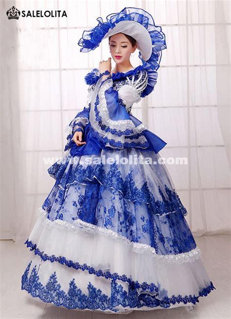 blue print southern belle rococo marie antoinette queen princess dress renaissance medieval