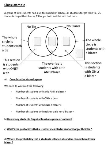 Venn Diagram Worksheets with Questions