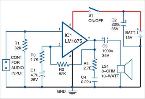 Watt Audio Amplifier Using Schematic Circuit Diagram