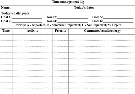 time management template 5 free time management forms