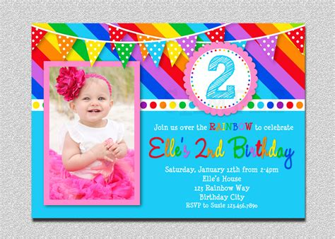 Rainbow Birthday Invitation Rainbow Kids Birthday Invite 1st