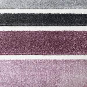 Teppich Grau Lila : designer teppich hochwertig modern linien muster meliert zeitlos graustufen lila grau teppiche ~ Indierocktalk.com Haus und Dekorationen