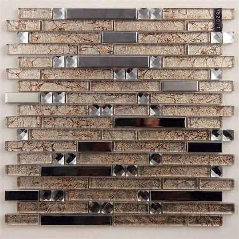 metallic tiles kitchen metal and glass silver stainless steel backsplash 4104