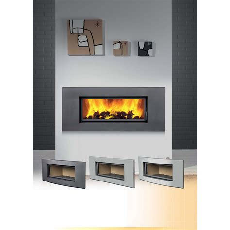 habillage cheminee insert moderne trou 224 feu fa 231 ade en m 233 tal bronpi habillage londres inox incurv 233 poe47m9 leroy merlin