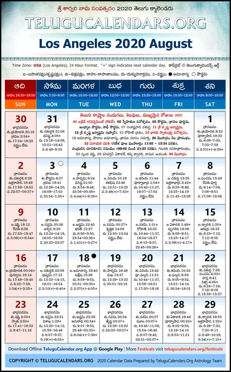 los angeles telugu calendars  august