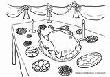 Coloring Feast Thanksgiving Draw Dinner Meal Designlooter Getcoloringpages sketch template