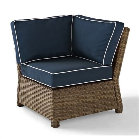 biltmore outdr wicker sectional corner w navy cushions