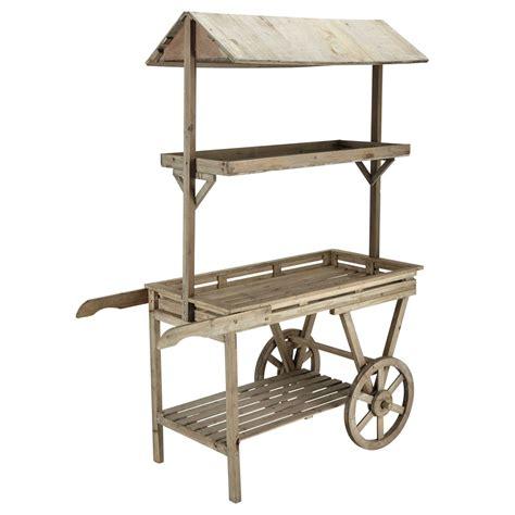 chariot en bois naturel h 174 cm primeurs maisons du monde