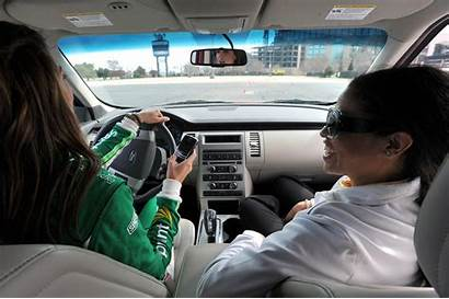 Daughter Teaching Teenage Driving Drive Father Way